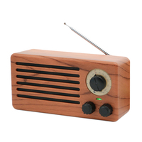Tabletop High Sensitivity Anti interferen FM Radio Vintage Retro Portable Speaker Built in Mircphone Wood Grain Hi Fi Sound