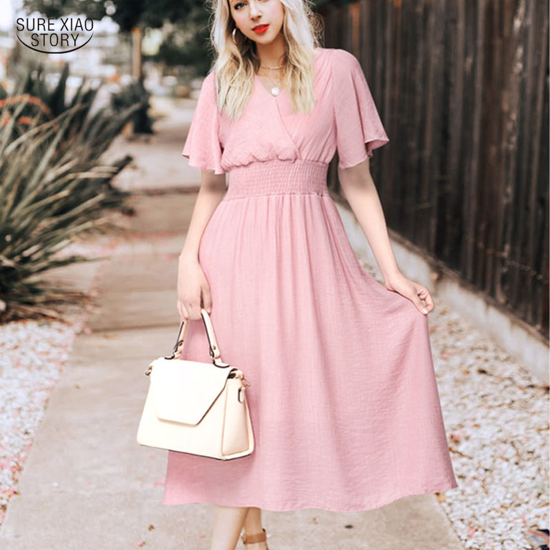 First Fashion Fly //2019 Spring and Summer Pleated V-Neck Sleeveless Dress Long Skirt Female Wine red