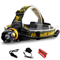Waterproof LED Head Light Headlamp 2 LEDs LED Headlight Blue/Yellow Fishing Flashlight Torch Head Lamp + Charger + 18650 Battery