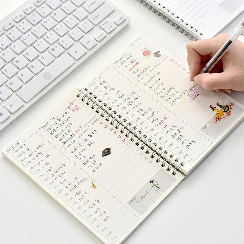 A5 Daily Weekly Monthly <font><b>Planner</b></font> Notebook Daily Journal Agenda Spiral Creative <font><b>2020</b></font> <font><b>Planner</b></font> Stationery Office School Supplies image