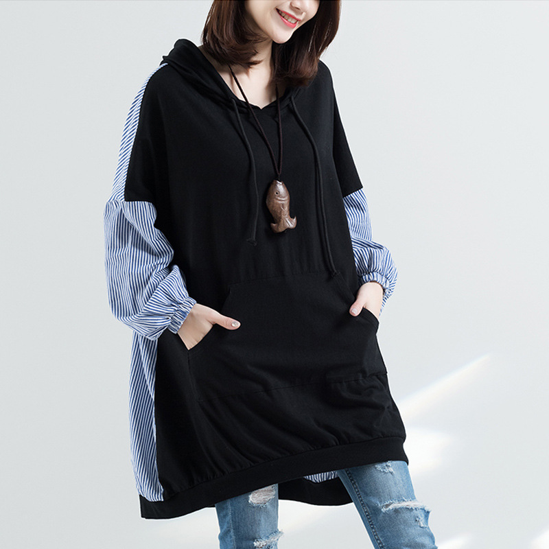Johnature Spring 2020 Plus Stripe Splicing Hooded Collar Hoodies Casual Korean Women Clothes New Pullover Long Sweatershirts
