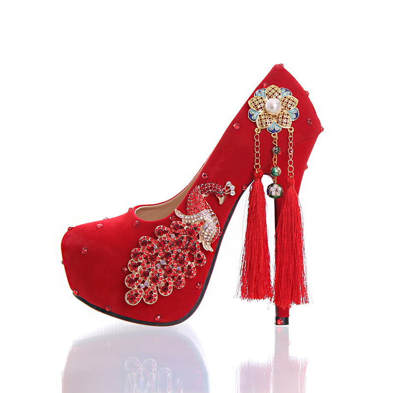 Red Phoenix diamond wedding shoes suede tassels high-heeled shoes Cloisonne elements bride super round dress shoes ladies shoes 684 suede shoes