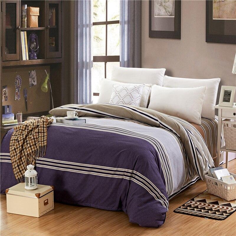 Purple Solid Color Stripe Pattern 1Pcs 100% Cotton Thickening Bedclothes Duvet Cover Set Bed Quilt Bedlinen 200x230cm Size