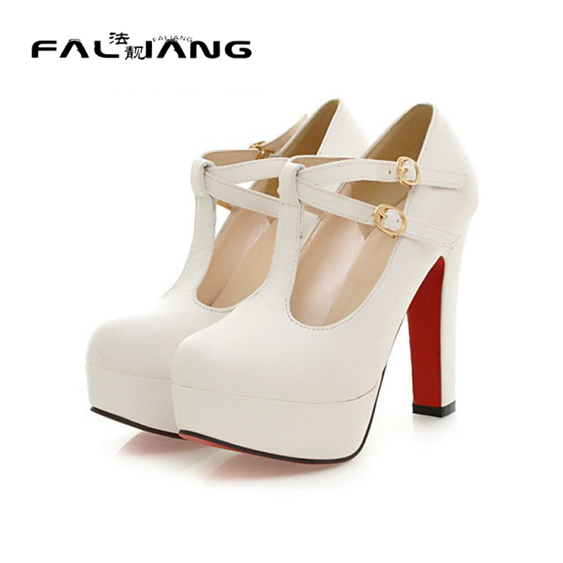 ФОТО Sexy Fashion Womens Platform Pumps Strappy Buckle High Heels Shoes Big Size Shoes Black Beige Yellow Pink White