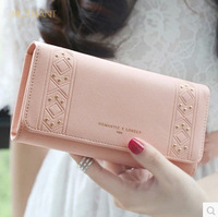 Spring and summer new Japanese and Korean fashion tide simple small fresh personality rivet ladies long wallet wallet