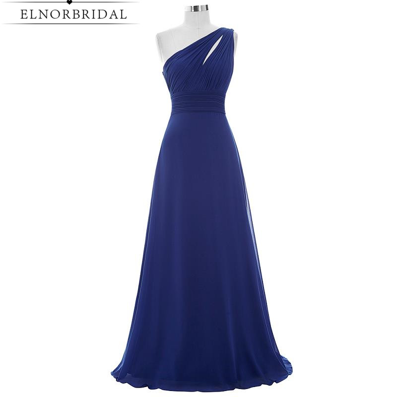 Navy Blue   Bridesmaid     Dresses   Floor Length 2019 One Shoulder Cheap Maid Of Honor   Dress   Robe Longue Weddings Party Gowns