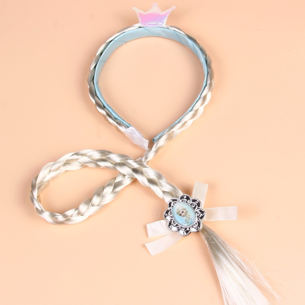 Elsa Anna Princess Cosplay Toy Braid Wig Hair Bands Children's Fiber Pigtails Accessories Holiday Doll Christmas Toys