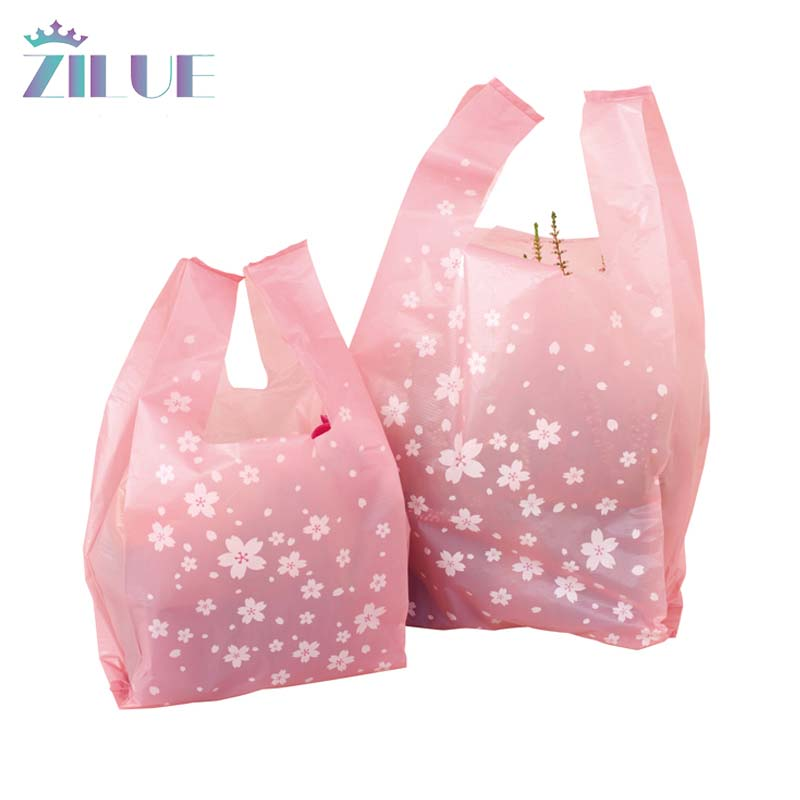 Zilue 100pcs/Lot Plastic Shopping Bags 18x35cm 24x45cm 30x55 Pink Vest Bags Party Packaging Candy Bags Wedding Candy Package