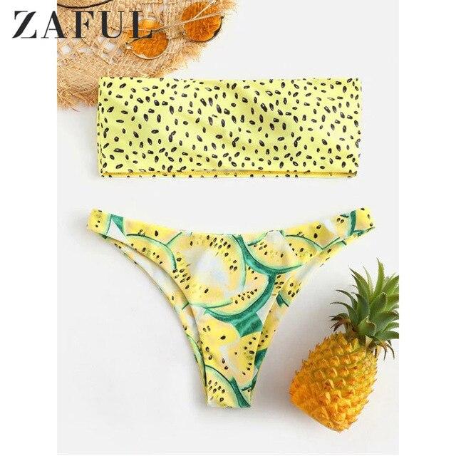 ZAFUL Dưa Hấu Bandeau Bikini Bộ Siwmwear Nữ Cao cấp Đồ Bơi Gợi Cảm Đệm Dưa Hấu Áo Tắm Biquni