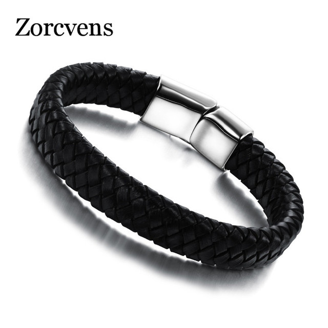 Zorcvens 2018 New Fashion Leather Jewelry Men Genuine Bracelets Clic Simple Design Male Bracelet Accessories