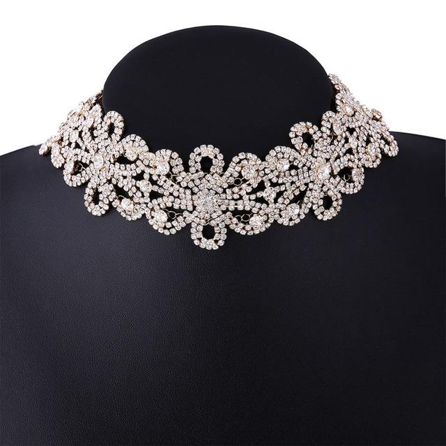 Nuevas mujeres elegantes rhinestone de la aleación collar de bohemia oro plata placa choker collar babero declaración