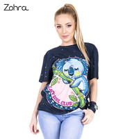 Zohra New Design Women Short Sleeve T Shirt Asleep Koala Printing Tee Shirt Fashion Casual Long