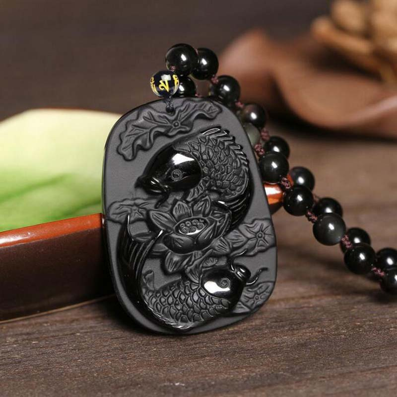 KYSZDL Natural obsidian carving Pisces pendant Men Women Obsidian necklace pendant jewelry gifts Free round bead necklace rope in Pendants from Jewelry Accessories