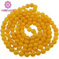 Fabulous Yellow Jade Long Necklace Charms 8MM  Jade Beads Necklace Brench Necklace Fashion GS084
