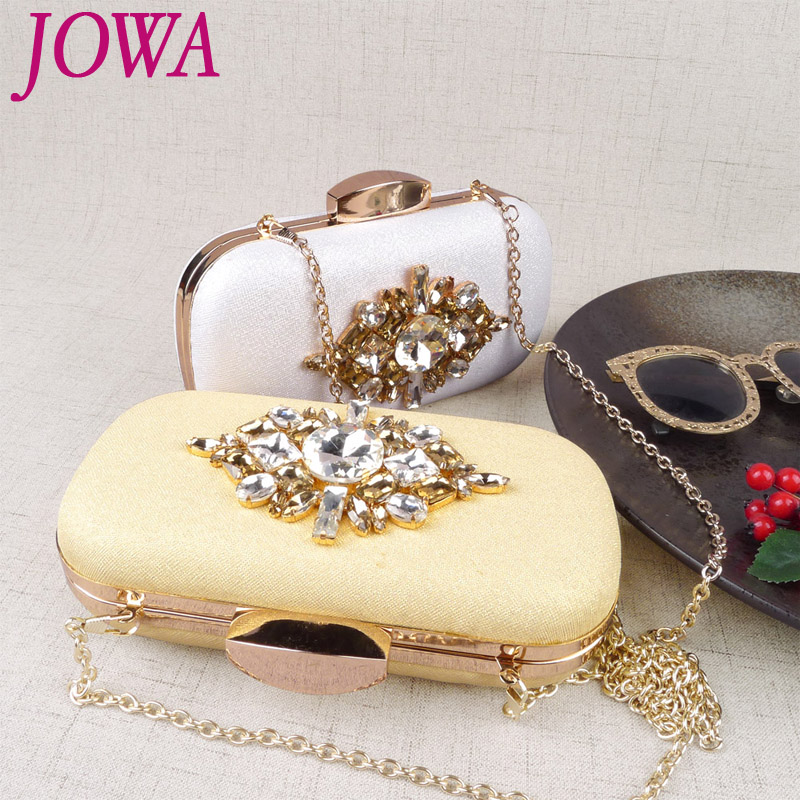 2017 New Design Evening Bags Shiny Diamonds Handbag Womens Night Gold Purse Wedding Party Clutches Mini Chains Package 2 Colors