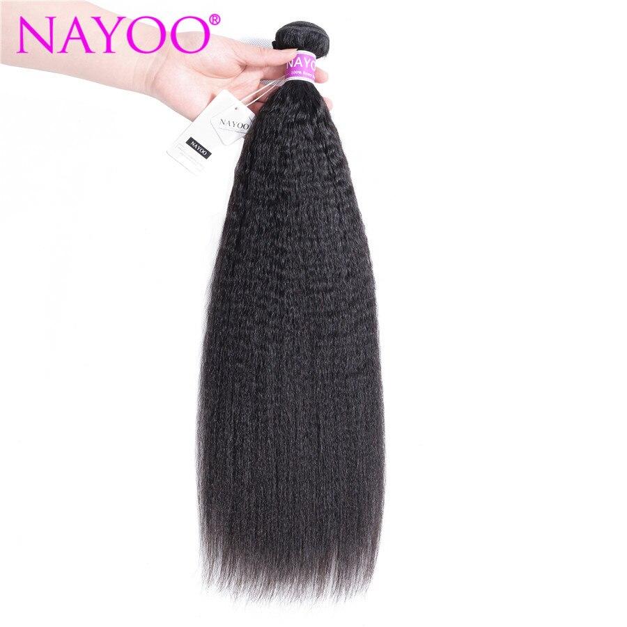 NAYOO Kinky Straight Hair Mongolian Hair Weave Bundles 100% Remy Human Hair Bundles Yaki Human Hair Extension Natural Color
