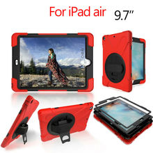 """For iPad air 9.7"""" Heavy Obligation Pill Case Fundas PC Silicon Armor Hydrid Case Again Cowl for Apple iPad Air 360 Protecting Stand"""