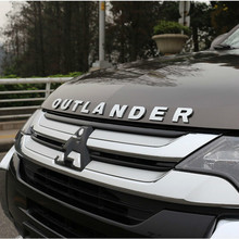 For Mitsubishi Outlander Chrome Car 3D Letters Hood Emblem Logo Badge  Stickers Styling Accessories Wording Letter