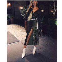 New Style 2017 Fashion Sequined Long Dress Women Sexy Green V Neck Long Sleeve Evening Party Dresses Formal Clubwear Vestidos