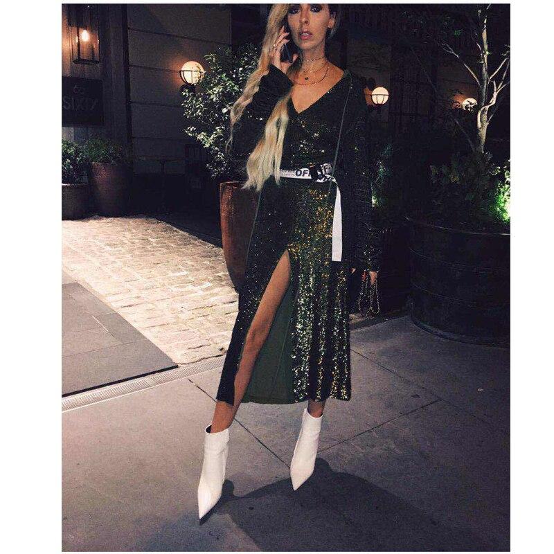 Nouveau Style 2017 Mode Paillettes Robe Longue Femmes Sexy Vert Col V À Manches Longues de Soirée Robes de Soirée Formelle Clubwear Robes