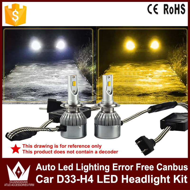 dual color led headlight hi/lo beam H4 H13 9004 9007 HB1 HB5 Car Headlamp Bulbs fog lamp for P hilips chip 36w auto led light