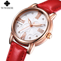 Mulheres de luxo Da Marca Relógios De Couro Vermelho Ouro Rosa Relógio Das Mulheres do relógio Da Forma Das Senhoras Vestido De Relógio de Quartzo Reloj mujer Montre Femme