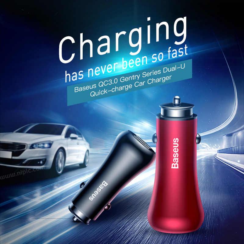 Adaptateur chargeur de voiture USB Baseus Turbo pour téléphone portable Charge rapide 3.0 QC3.0 chargeur de voiture double USB chargeur de voyage chargeur rapide