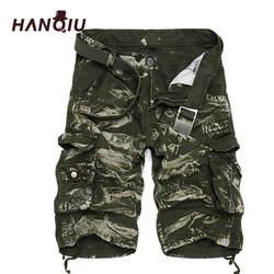 Военных грузов шорты Для мужчин летние камуфляжные натуральный хлопок брендовая одежда Удобная Для мужчин Тактический Camo Cargo Shorts