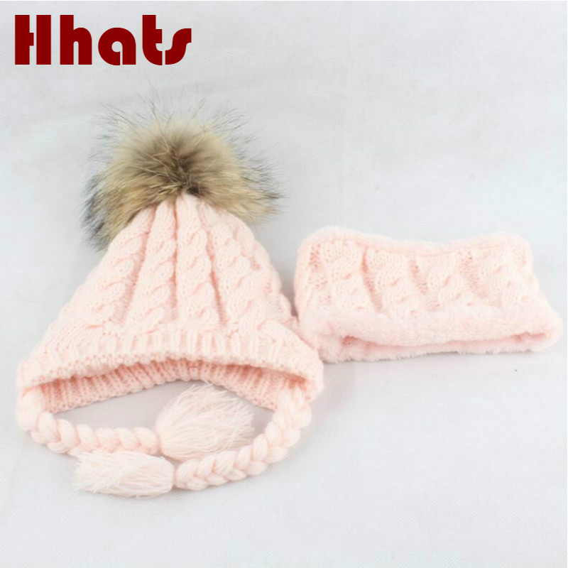 Thicker Warm Baby Hat Scarf Set Fleece Lining Earflap Beanie Bib Set Outdoor Windproof Real Raccoon Fur Pompom Neck Ring Cap Set