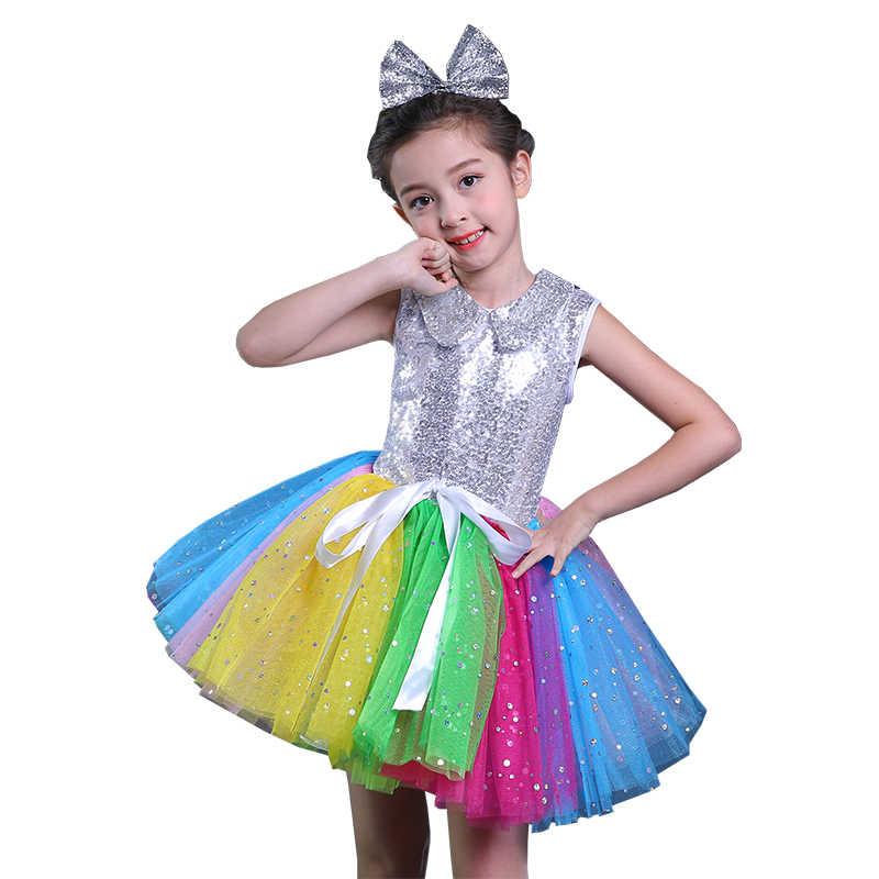 070e51ff5094 Detail Feedback Questions about Sequins Children Contemporary Princess Dress  Puffy Dresses For Kids Girls Modern Dance Performance Costume Rainbow ...