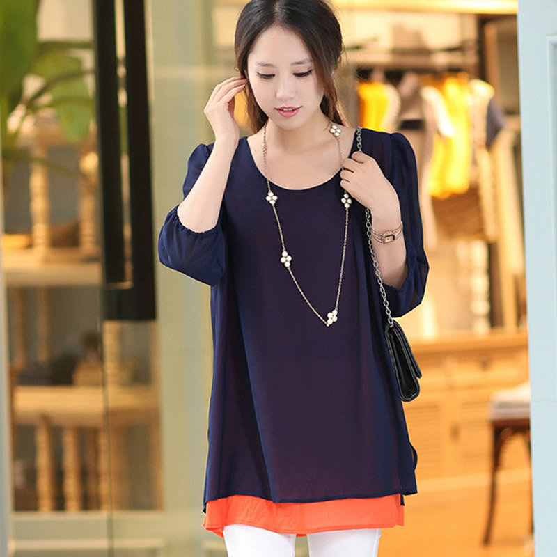 New Spring 2015 Plus Size Half Sleeve Fake Two piece Stitching Solid Color Loose Tops Elegent