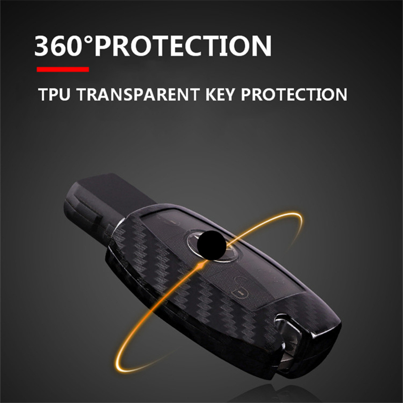 Image 3 - Carbon fiber +PC car key cover case for Mercedes benz CLS CLA GL R SLK AMG A B C S class Remote holder accessories keychain-in Key Case for Car from Automobiles & Motorcycles
