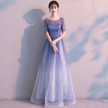 Elegant squine Long Evening Party Dresses 2019 Backless Floor Length Robe de soriee S sleeve Prom Dress Formal Evening gown