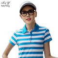 Brand Korean Women Polo Shirt Short-Sleeved Thick Horizontal Stripes Classic Street Sportive Collar 7 Colors Cotton Tops Tees
