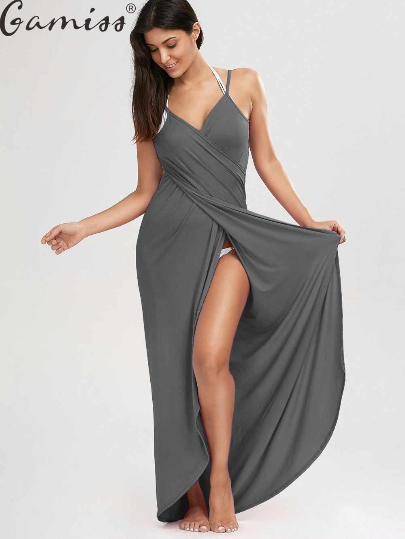 6dd4f78810e ... Gamiss Beach Wrap Cover Ups Maxi Slip Dress Women Sexy Club Sleeveless Maxi  Dresses High Split ...