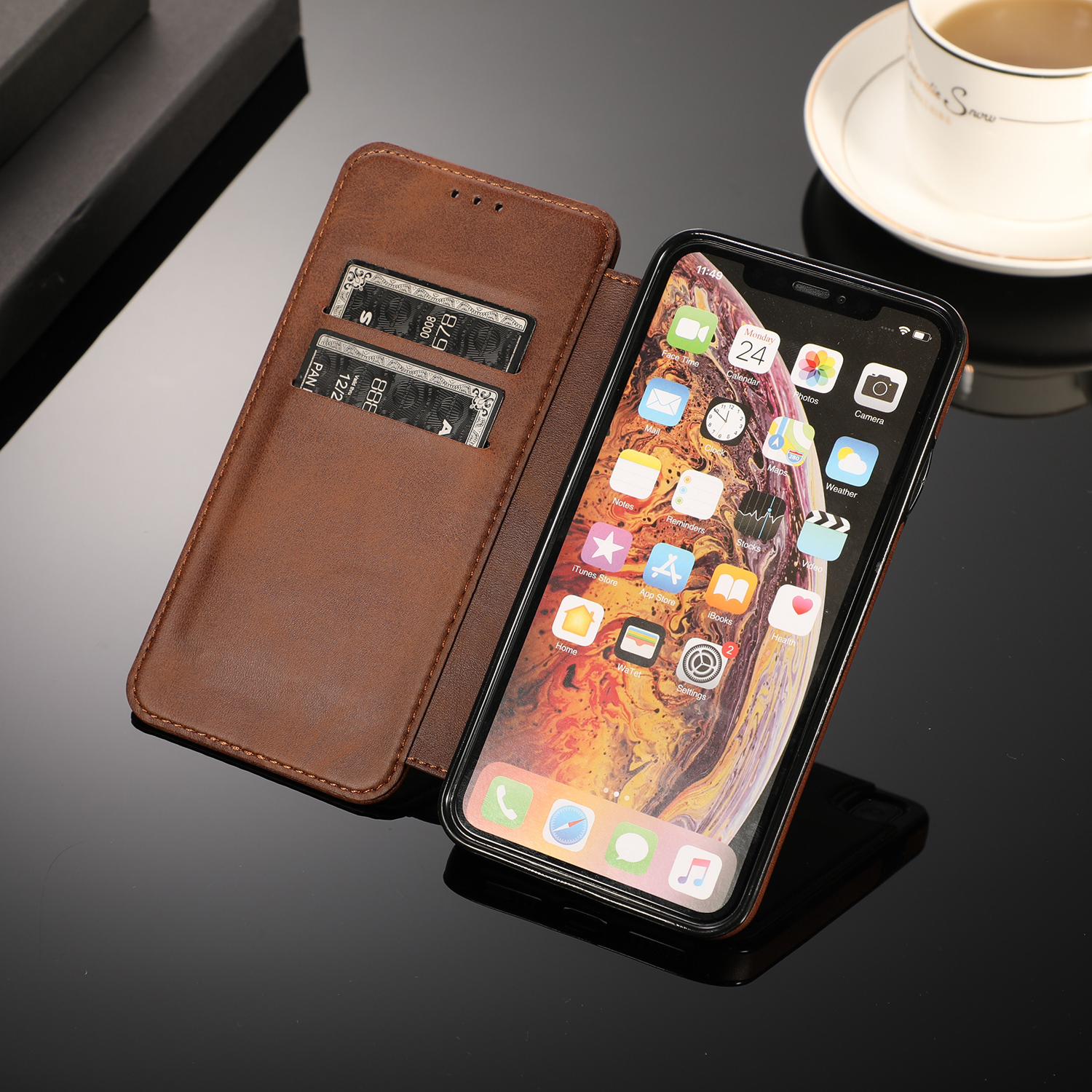 For iPhone 6 S 7 8 Plus XS Max XR Magnet leather flip Case For iPhone 6s 7plus 8plus Card Slot Wallet Cover Phone Bag in Fitted Cases from Cellphones Telecommunications