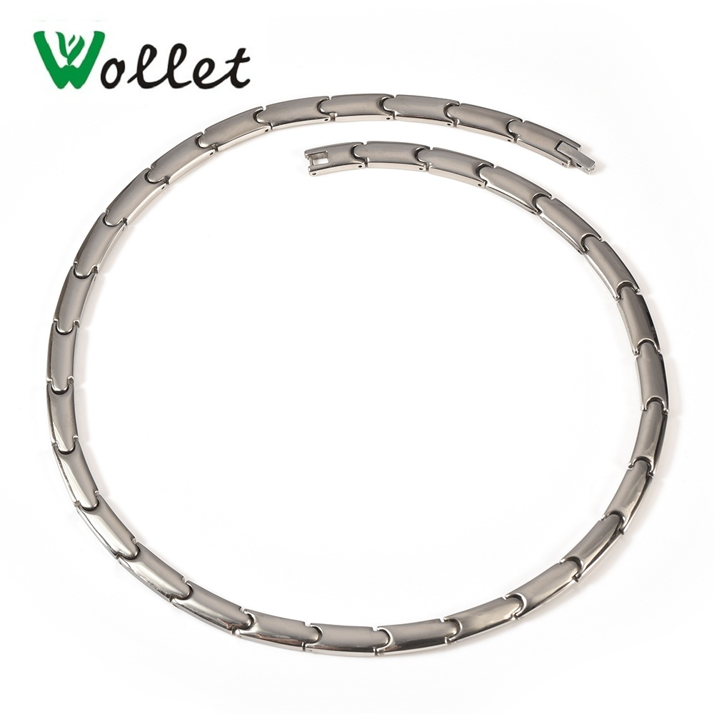 Wollet Jewelry Bio Magnetic Collar de titanio puro para mujeres Solid Germanium Infrared Negative Health Health Healing Energy
