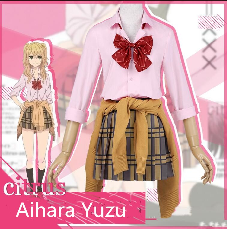 Japanese Anime Citrus Aihara Yuzu Cosplay Costume Uniform Suit Outfit Clothes dress for girl