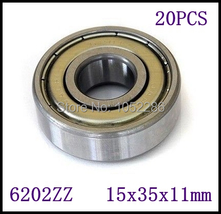 20pcs/lot  6202ZZ  6202 Shielded Deep Groove Radial Ball Bearings slide bearing 15*35*11 mm