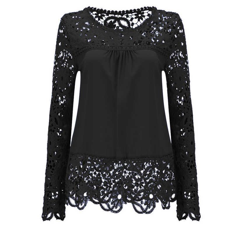 2018 Summer Women White Lace Blouses Shirts Fashion Chiffon Blouses Hollow Out Top Female Plus Size Women's Clothing 4XL 5XL 50