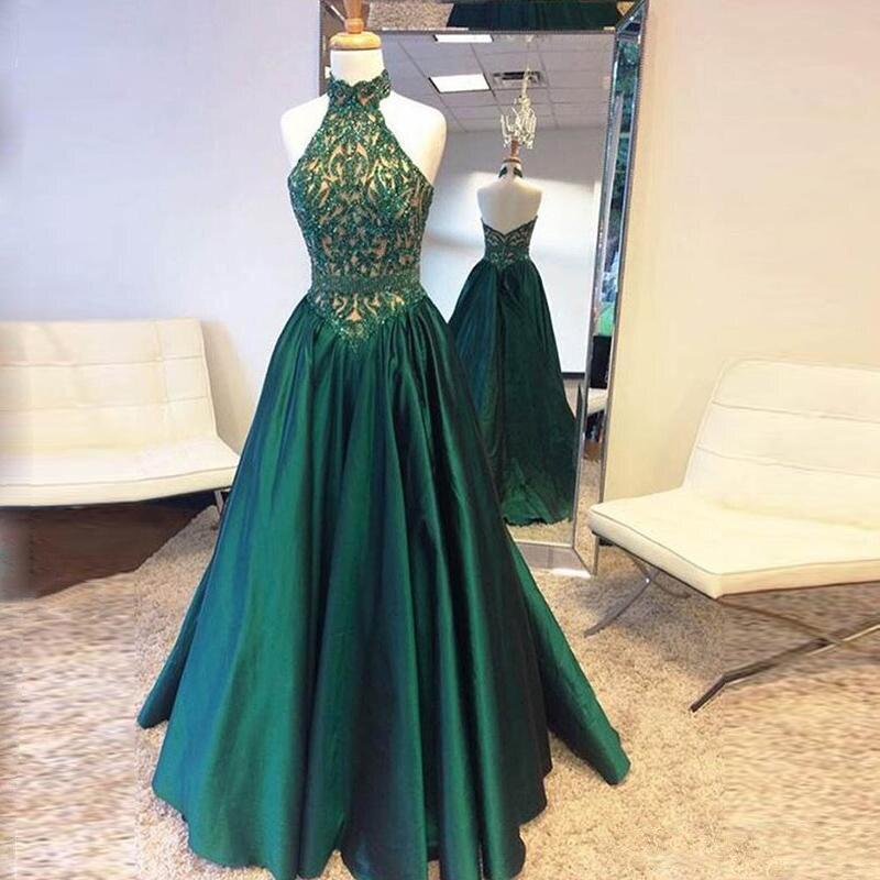 Vestidos de noche largos verde esmeralda