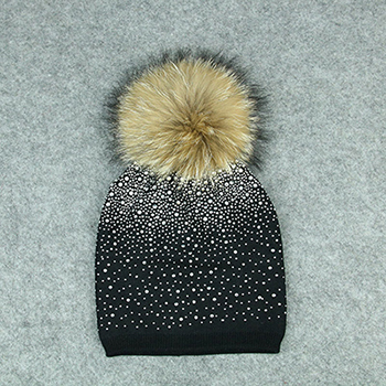 Mink Fox Fur Ball Hat Women Girl 'S Wool Hat Fur Pom Pom Female Winter Hats Knitted Cotton Beanies Cap Brand Stocking Hat