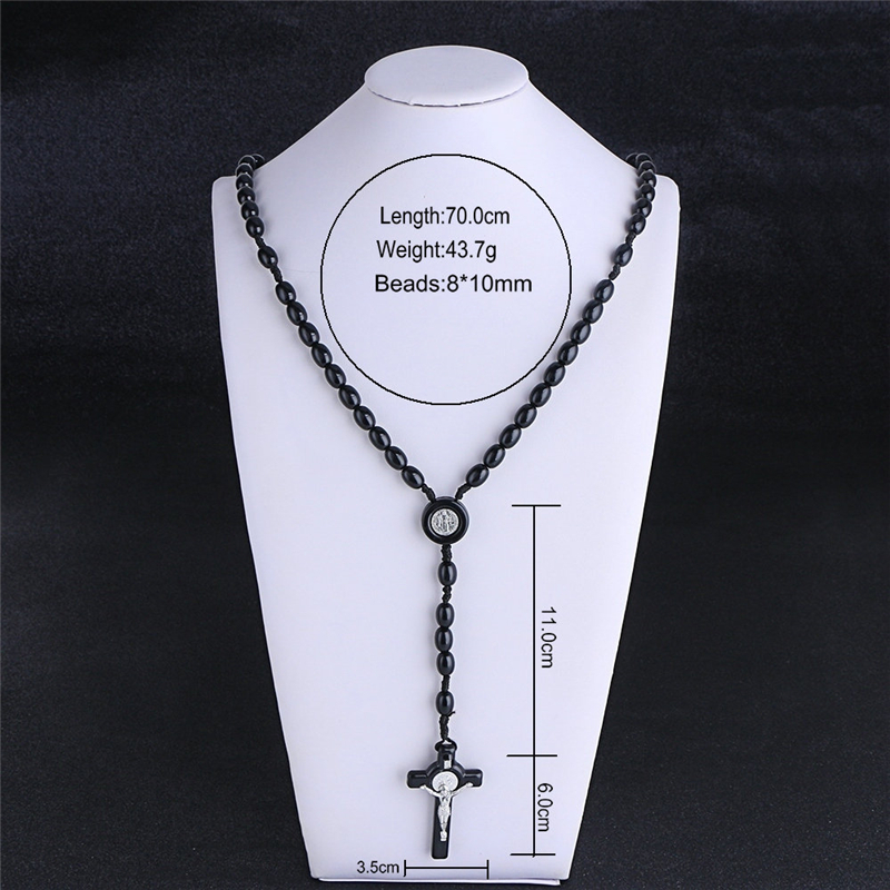 Komi Rosary Beads JESUS Coin Cross Pendant Necklace for Women Girls Catholic Religious Jewelry Holy Rosaries Necklaces R-026