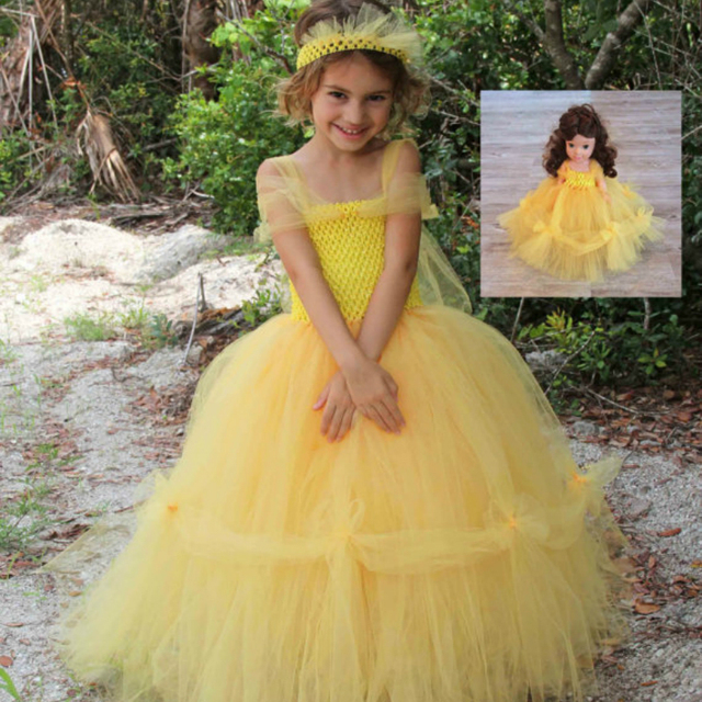 eb7718b1143 Princess Belle Inspired Matching Girl Tutu Dresses Yellow Lolita Princess  Baby Girl Dress for Party Halloween Cosplay Clothes