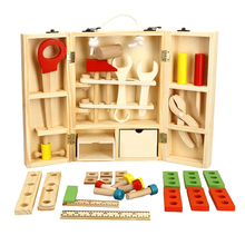 Wooden Toolbox Wooden 3D Puzzle Toolbox Service Simulation toys for Baby kids Educational toys boy gift Tool box toy kids screw wood educational toys wooden toy baby gift children assemble puzzle removable nut combination dismounting tool