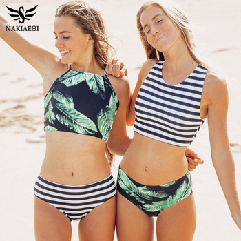 NAKIAEOI High Neck Bikini Women Swimwear 2019 Hot Printed Green Leaf Bandage Swimsuit Bikini Set Bathing Suit Crop Top Biquini