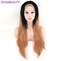 JOY&BEAUTY Orange Ombre Long Straight Synthetic Hair Lace Front wig High Temperature Fiber For Women Wig Free Shipping