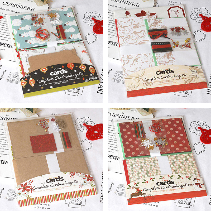 Eno Greeting Christmas Card Kit 6 Cards Complete Cardmaking Kit Kids,Beginner Make Your Own Christmas Cards image