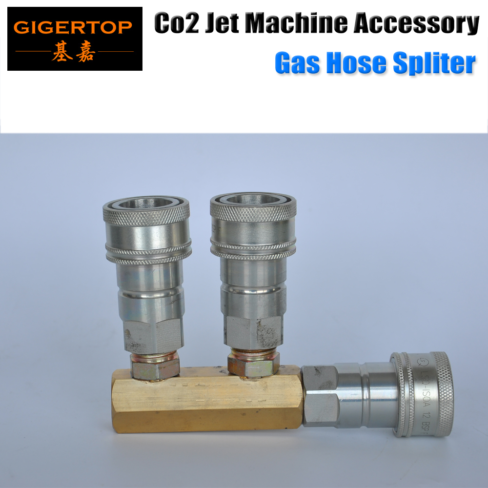 TIPTOP Stage Effect Co2 Machine 3 Way Gas Splitter Quick Silver Color Connector Copper Pipe Good Quality 3 Way Gas Supply 8m stage co2 jet effect machine high pressure resin hose to connect with co2 gas tank