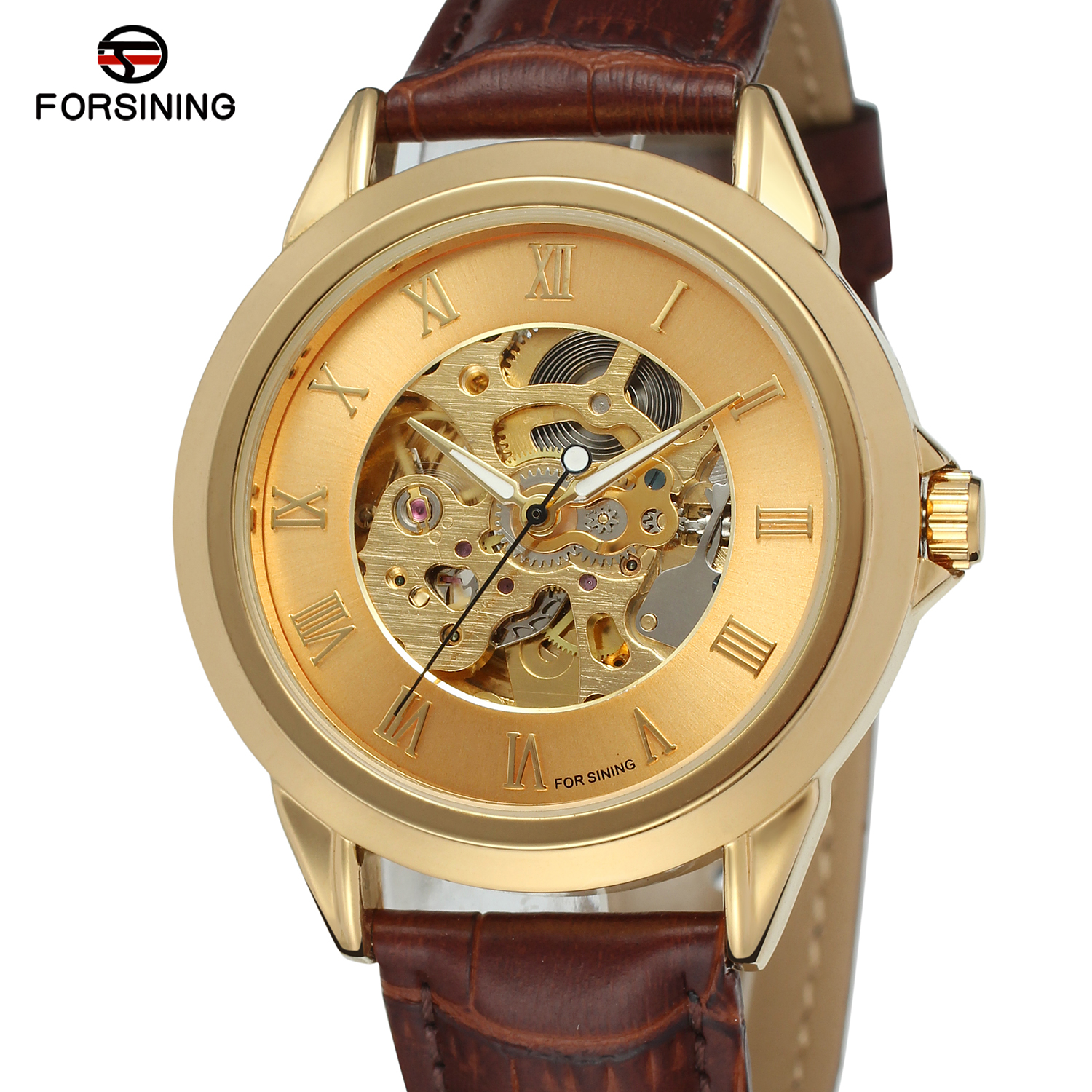 Fashion Forsining Top Brand Men Auto Mechanical  Leather Strap Watch Luxury Gold Bezel Roman Number Skeleton Dial Wrist WatchesFashion Forsining Top Brand Men Auto Mechanical  Leather Strap Watch Luxury Gold Bezel Roman Number Skeleton Dial Wrist Watches